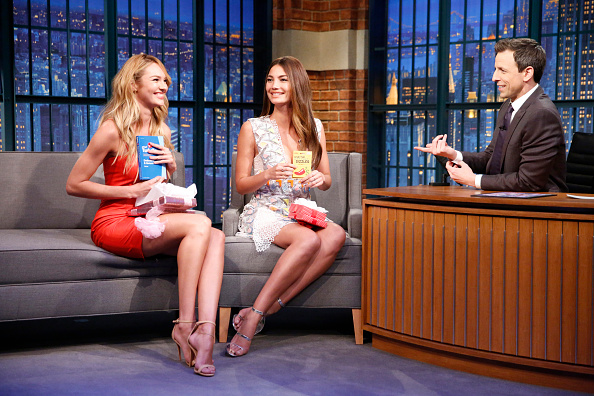 LATE NIGHT WITH SETH MEYERS -- Episode 0159 -- Pictured: (l-r) Victoria's Secret Angel Candice Swanepoel, Lily Aldridge during an interview with host Seth Meyers on February 5, 2015 -- (Photo by: Lloyd Bishop/NBC/NBCU Photo Bank via Getty Images)