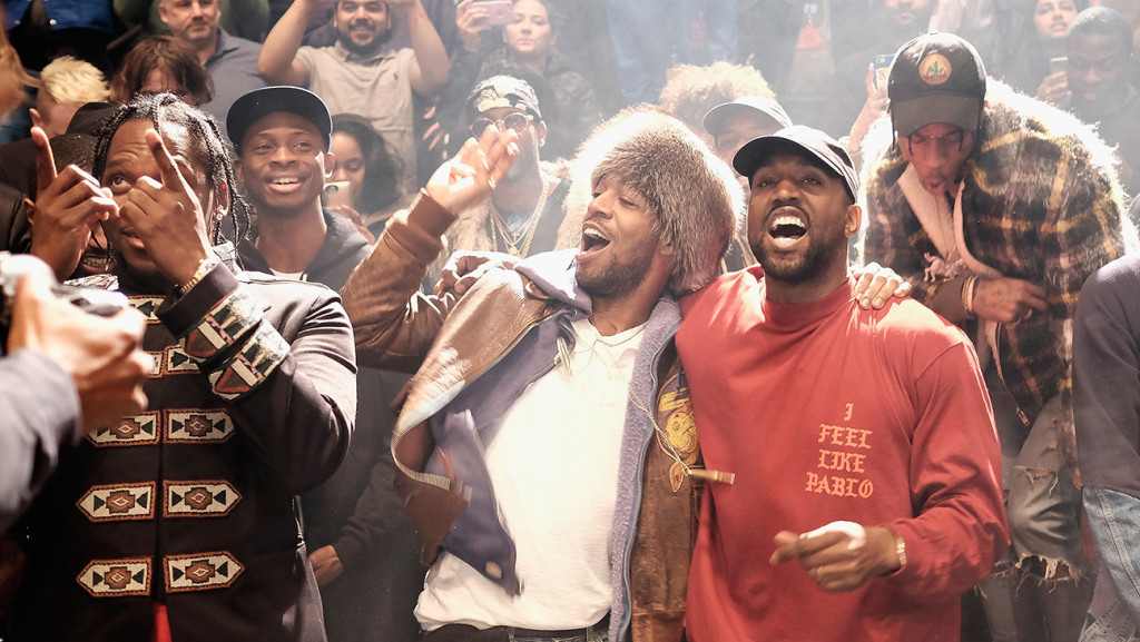 NEW YORK, NY - FEBRUARY 11: Kanye West performs during Kanye West Yeezy Season 3 on February 11, 2016 in New York City. (Photo by Dimitrios Kambouris/Getty Images for Yeezy Season 3)